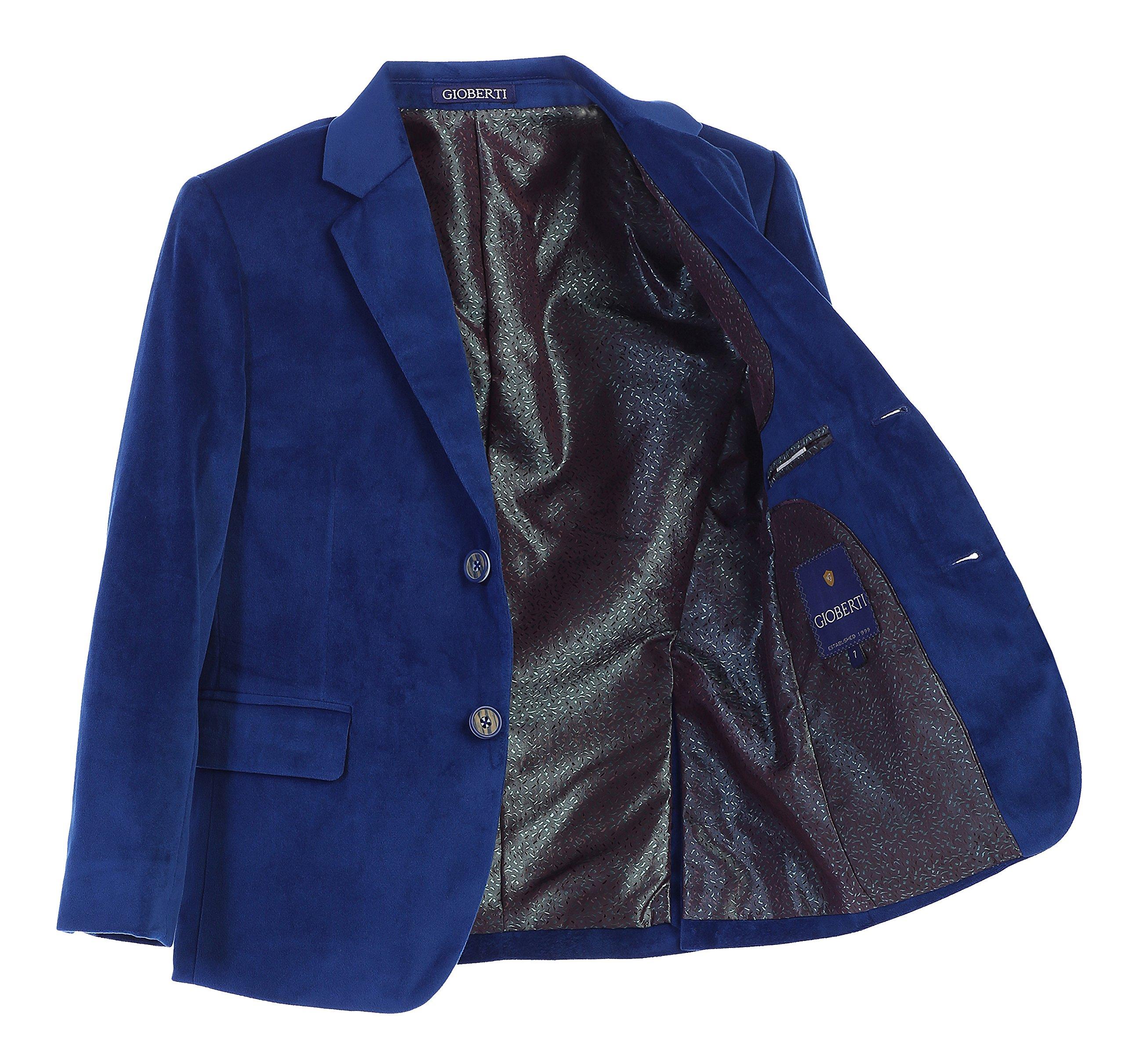 Gioberti Little Boys Formal Velvet Blazer, Royal Blue, Size 4T