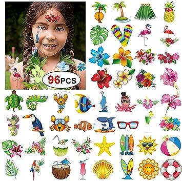 Konsait Tatuajes Temporales para Niños Niñas Adultos, 96pcs Hawaiana Tropical Tatuaje Falso Pegatinas para Decoración de Fiesta de Verano, Infantiles ...