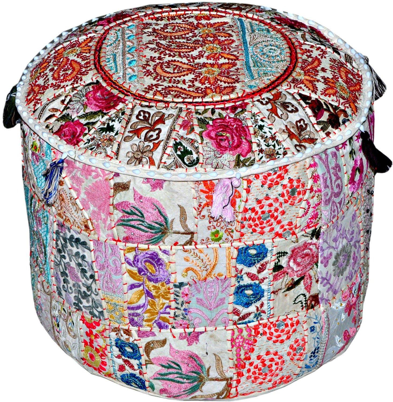 SUMONIK CREATION Vintage Sari Patchwork Pouf Handmade Patchwork Ottoman Indian handmade Pouf Bohemian Round Ottoman