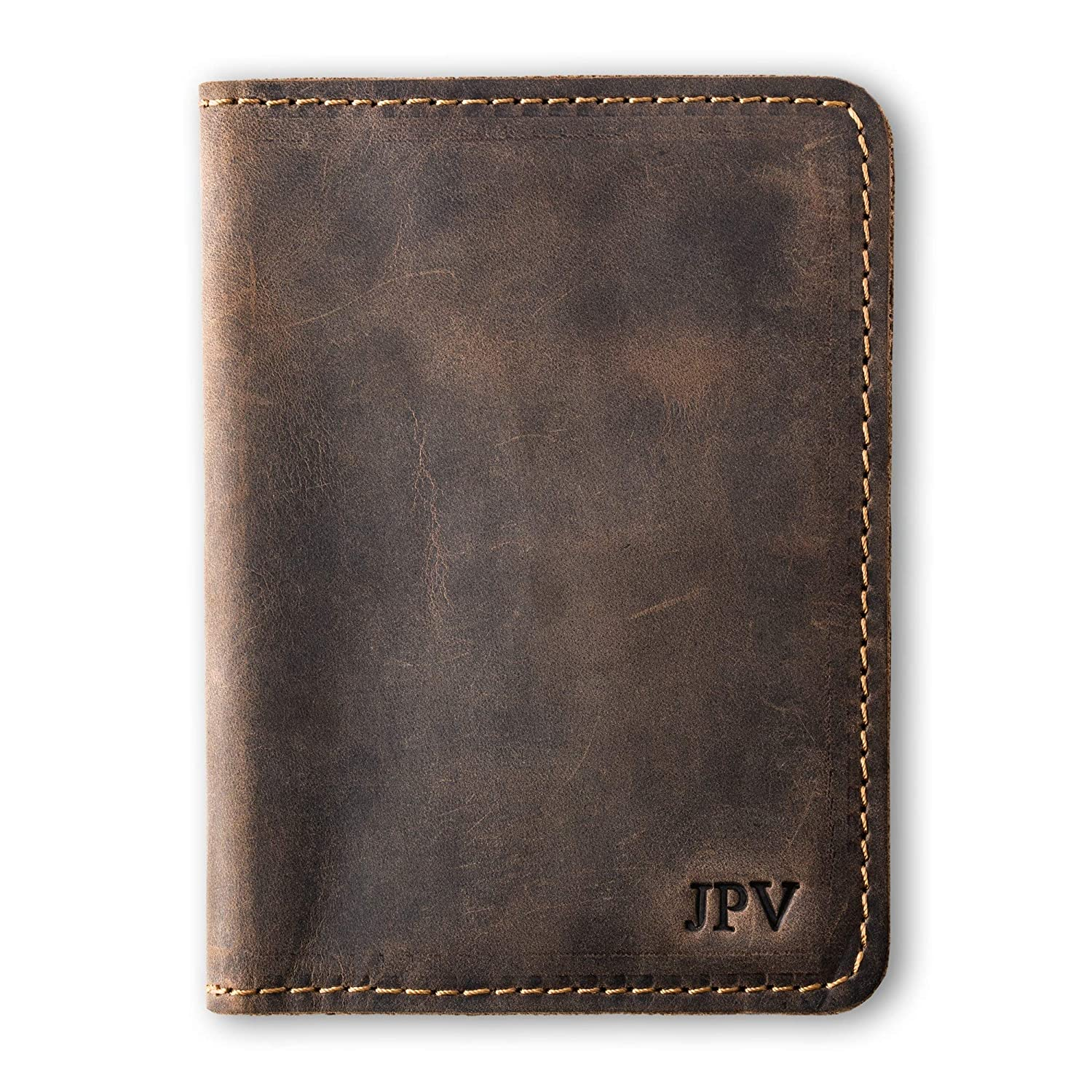 Pegai Personalized Passport Wallet, Distressed Leather Travel Wallet, Handcrafted Soft Leather Passport Holder, Rustic Passport Cover - Pike Chestnut Brown