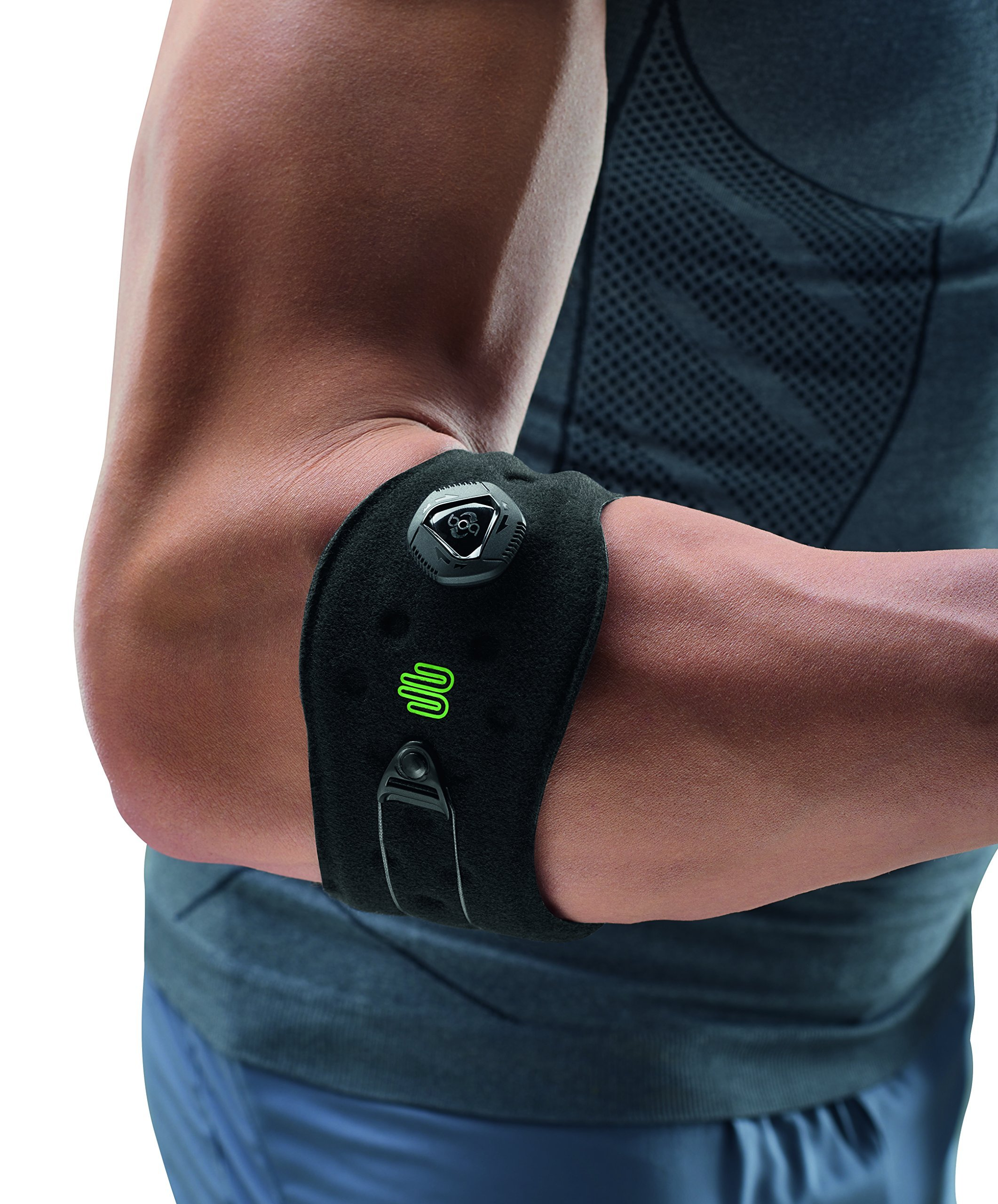 Bauerfeind Adjustable Sports Elbow Strap - Single, Black, One Size - Forearm Pain Relief from Golfers and Tennis Elbow - Five Point Pad for Direct Pressure on Tendon - Boa Closure System by Bauerfeind