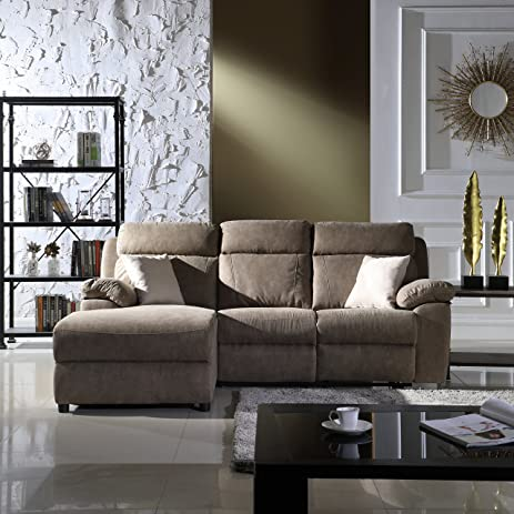 Classic Traditional Small Space Reclining Sectional Sofa, L Shape Recliner  Couch (Beige)