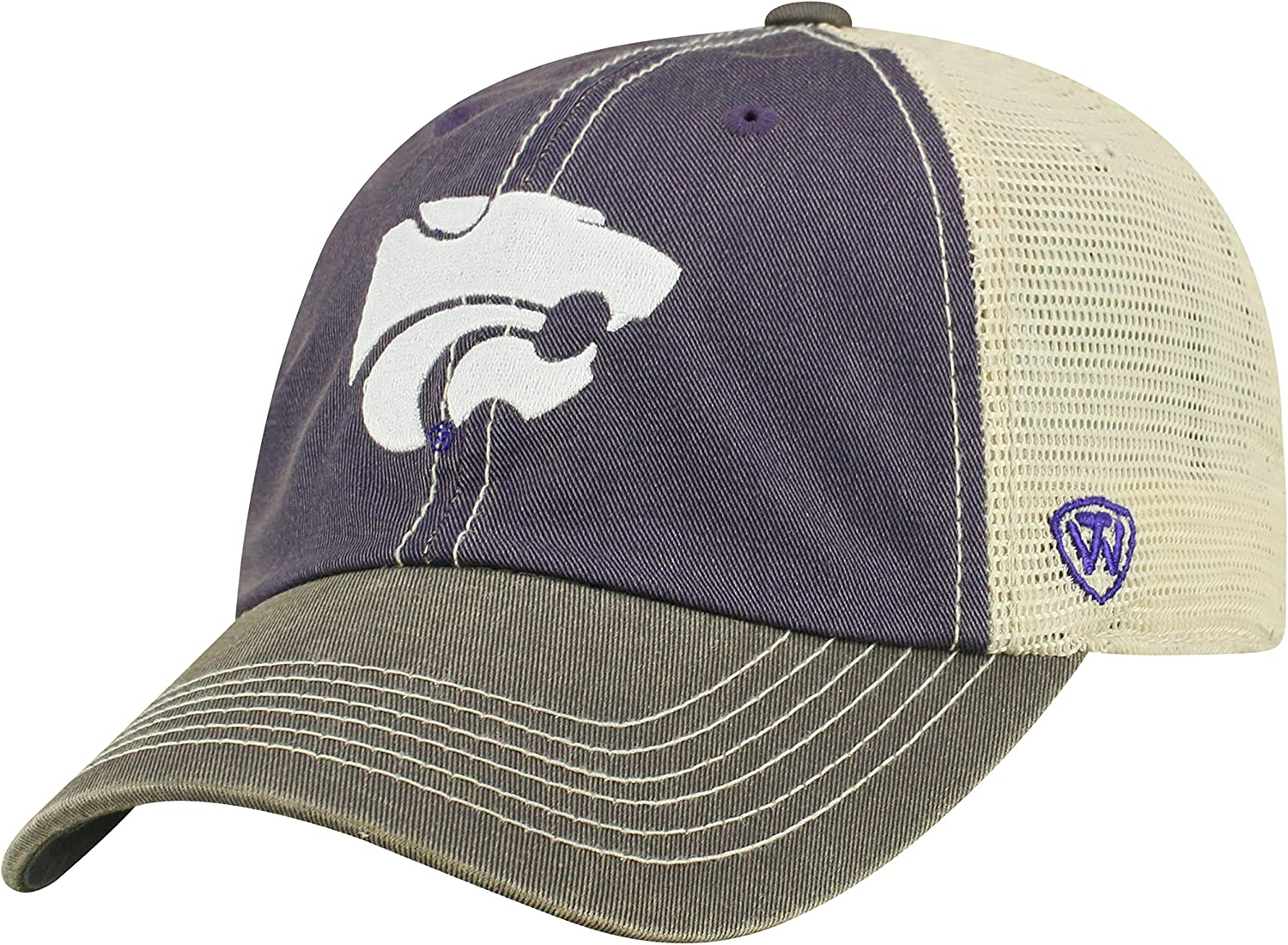 NCAA Kansas State Wildcats Relaxed Fit Adjustable Mesh Offroad Hat, Purple, Adjustable
