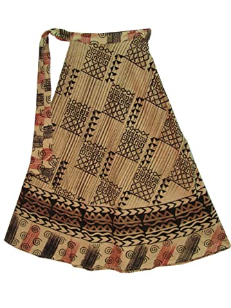 d5ad5be2f5e21 Image Unavailable. Image not available for. Color: Indian Ethnic Geometric  Block Print Cotton Maxi Wrap Around Long Skirt Beige