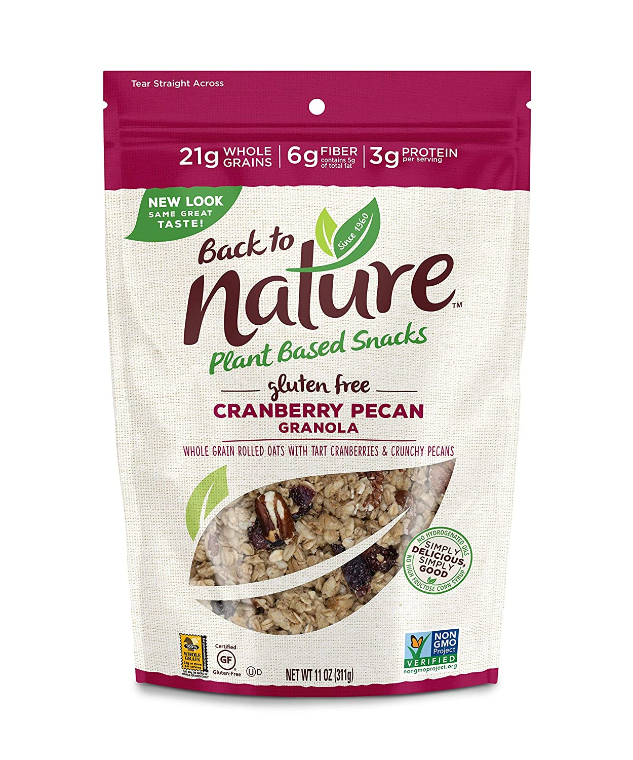 Back to Nature Gluten Free Granola, Non-GMO Cranberry Pecan, 11 Ounce (Pack of 6)
