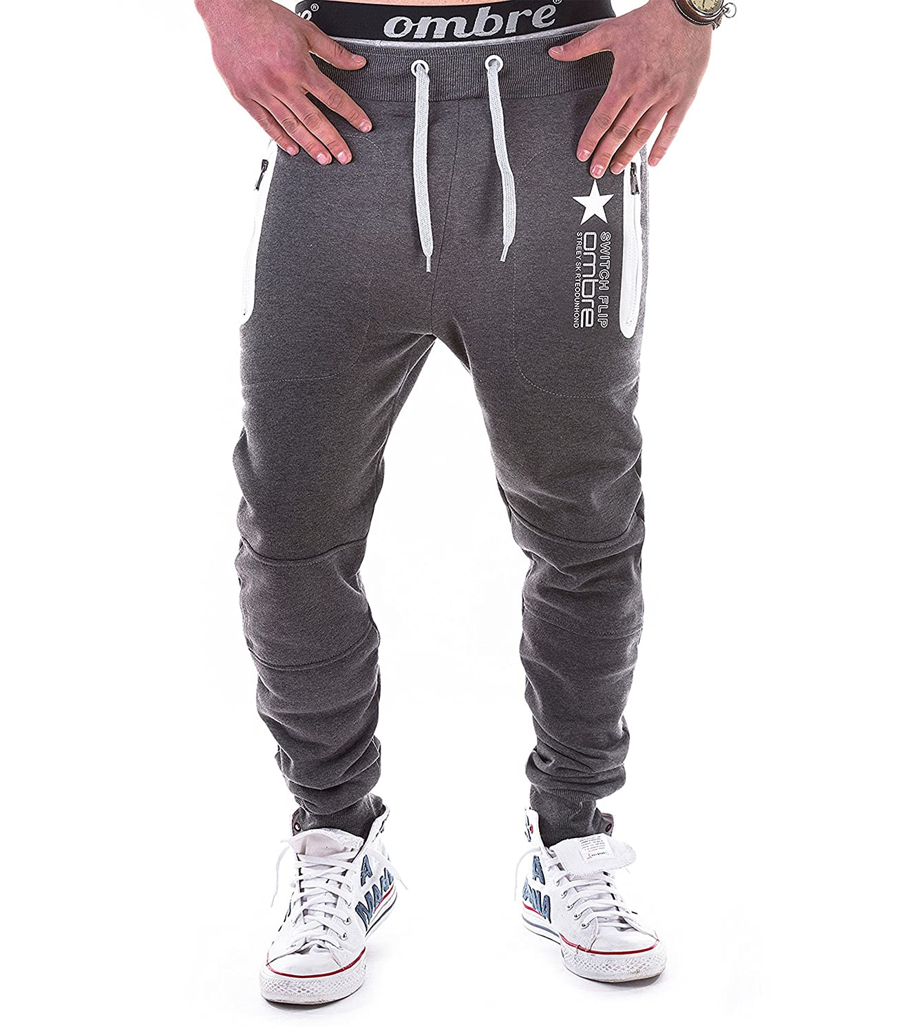 5b012d65 BetterStylz Switch Mens Casual Joggers Track Pants Jogging Sweatpants Zip  Gym Tracksuit Bottoms 3 Colors (S-XXL) at Amazon Men's Clothing store: