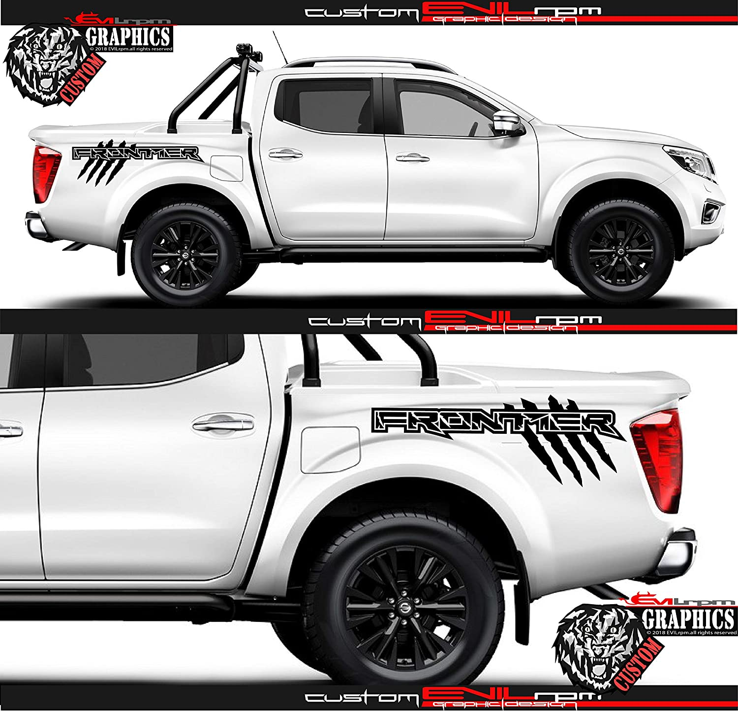 Evilrpm vinyl side truck bed decal sticker kit raptor distressed graphics compatible with nissan frontier black sticker pair left and right black