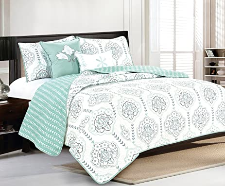 5 piece quilt set with shams and decorative pillows soft all season microfiber roll over image to zoom in home fashion designs