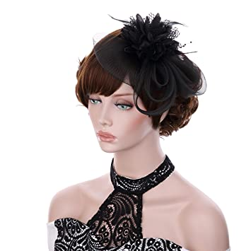 Vglook Fascinator Haarreif Mit Blumen Und Feder Design Elegant