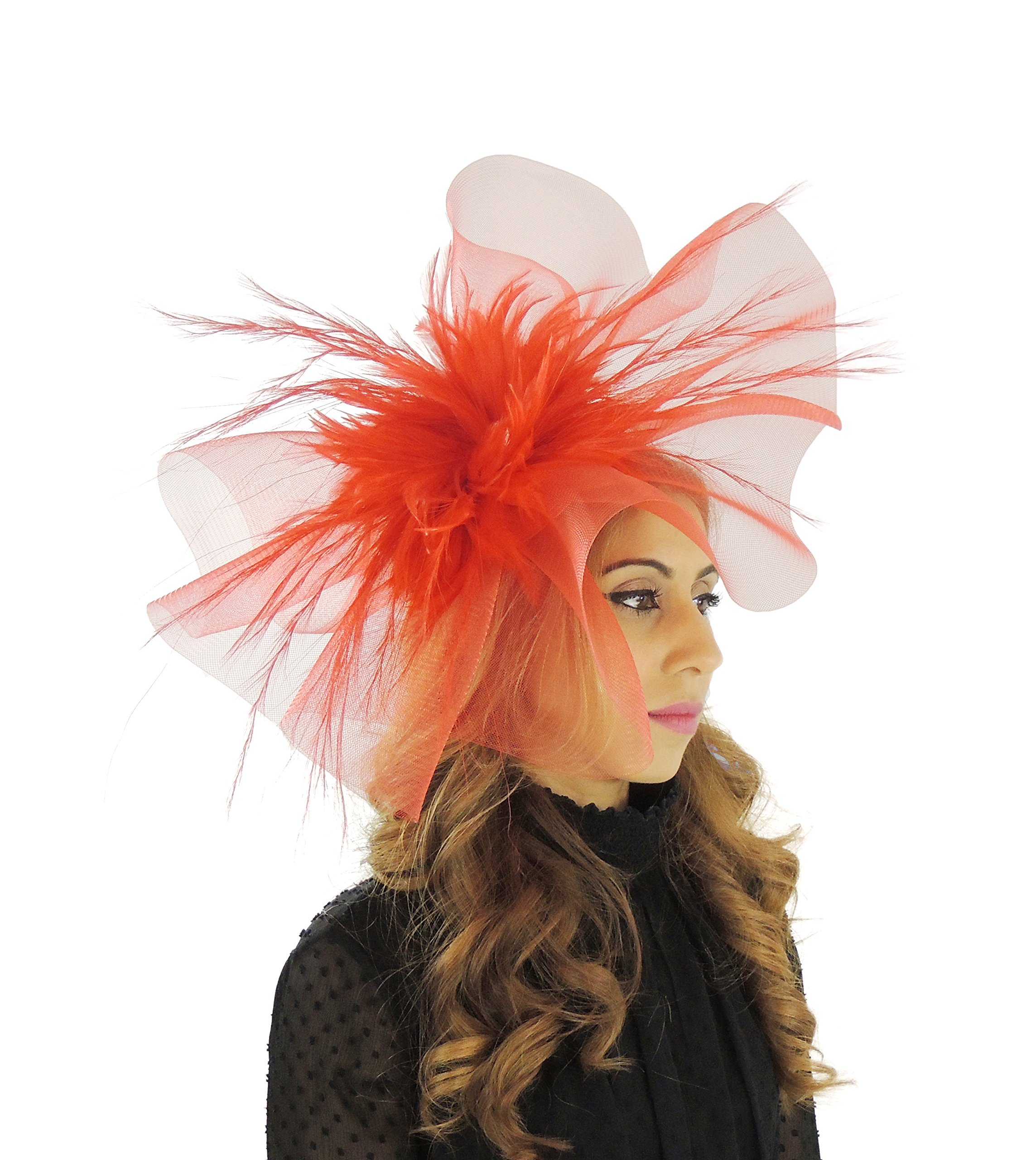 Hats By Cressida crin & Feathers Elegant Ladies Ascot Wedding Fascinator Hat Red