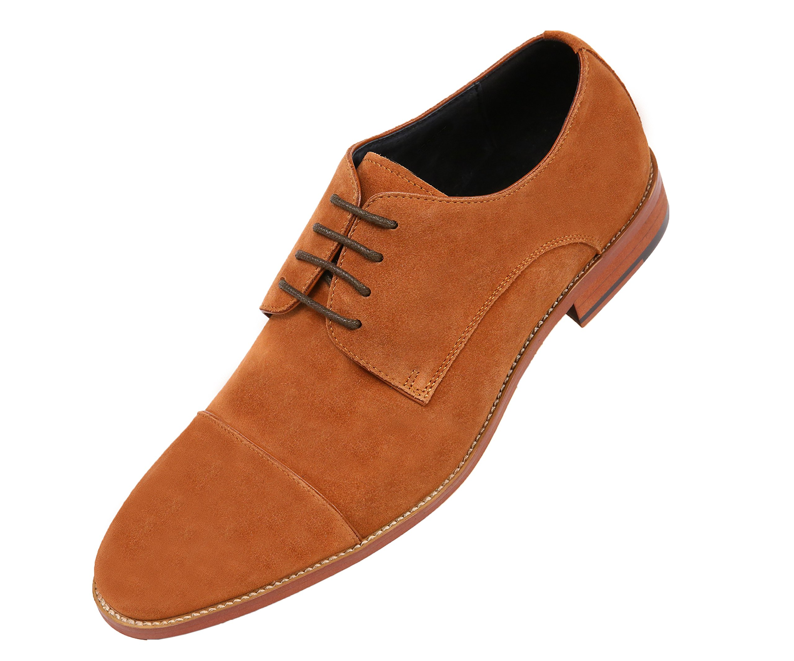 Asher Green Mens Genuine Suede Cap Toe Lace up Oxford Dress Shoe with Wood-Like Sole, Style AG3889