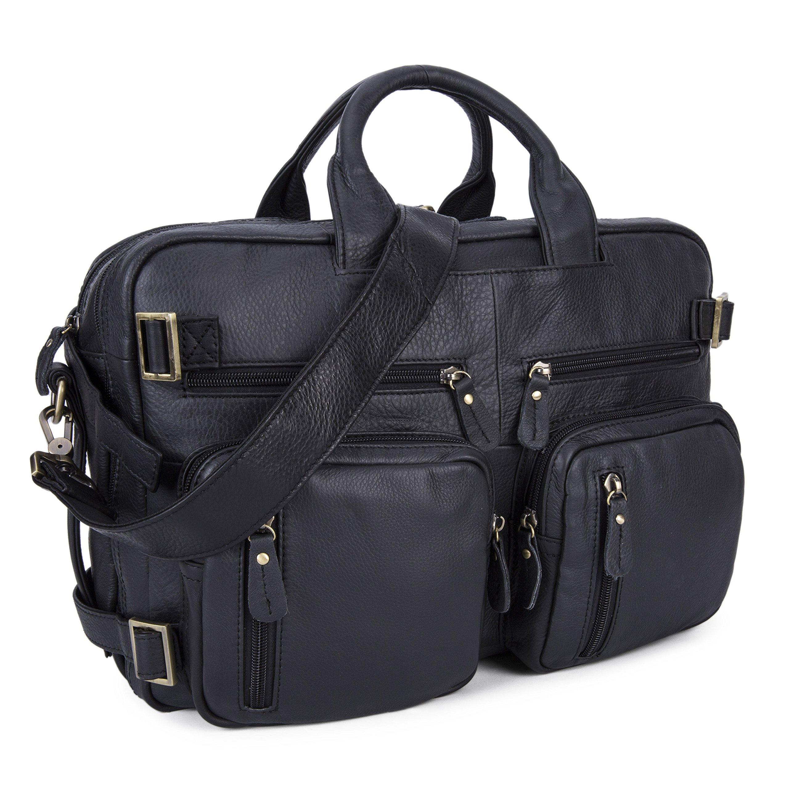 Men Multi-purpose Leather Business Work Bag 15/16/17'' Laptop Bag, Backpack/ Briefcase/ Tote Shoulder Travel Luggage (Black)