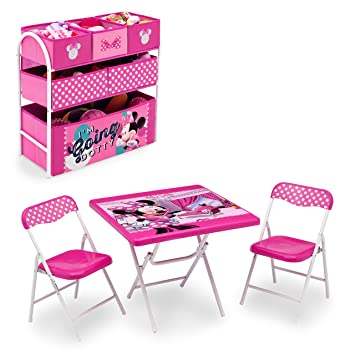 Disney Minnie Mouse Playroom Solution Set (Table u0026 Chair Set + Metal Multi-Bin  sc 1 st  Amazon.com & Amazon.com : Disney Minnie Mouse Playroom Solution Set (Table ...