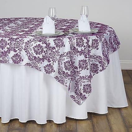 BalsaCircle 90x90 Inch Eggplant Purple On White Damask Flocking Table  Overlays   Wedding Reception Party