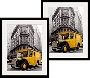 Art Emotion Solid Wood Picture Frame with 2MM Reinforced Glass, Black 20x24 Frame for 16X20 Photo (20x24 without Mat), Hangers for Horizontal or Vertical Display, Pack of 2