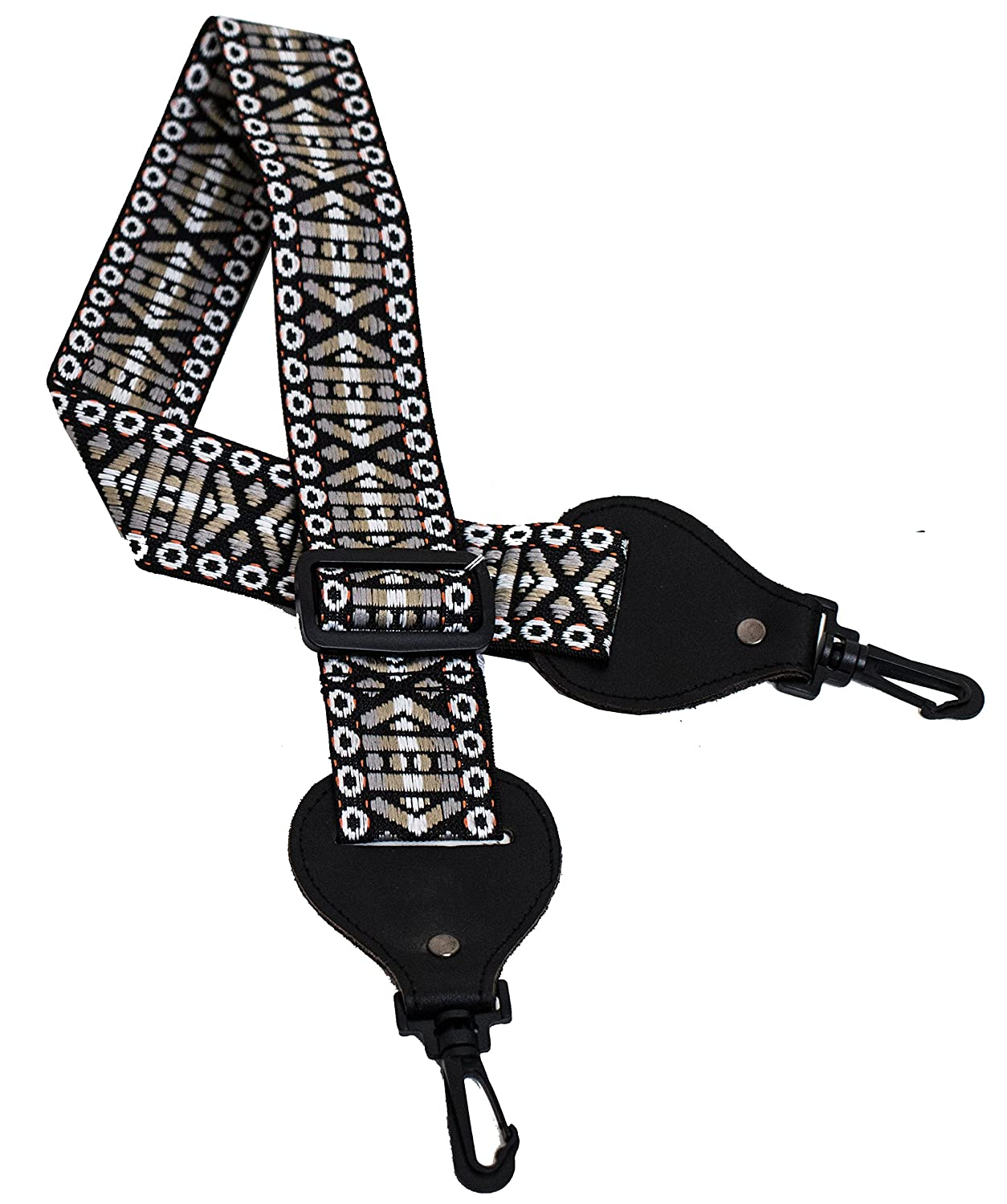 Performance Plus GS7-GT Adjustable Length Woven Banjo Strap with No-Scratch Hooks, Pewter Sand