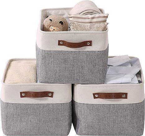Beige and Grey, Cube - 12 x 12 x 12-4 Pack DECOMOMO Foldable Storage Bin Collapsible Sturdy Cationic Fabric Storage Basket Cube W//Handles for Organizing Shelf Nursery Home Closet