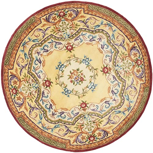 Safavieh Empire Collection EM822A Handmade Traditional European Gold Premium Wool Round Area Rug 4 Diameter