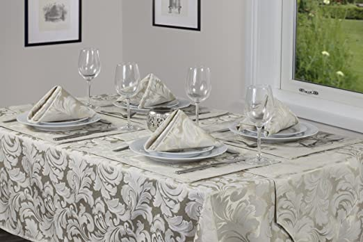Christmas Tablescape Decor - Christmas Cadiz damask effect champagne oblong rectangular tablecloth