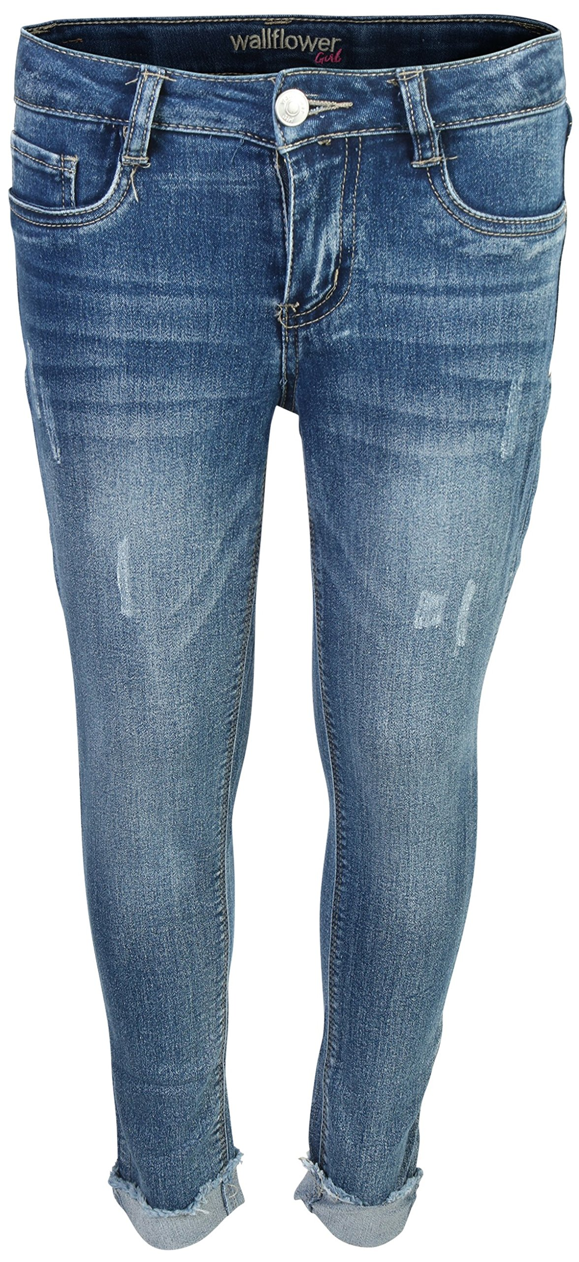 WallFlower Girl's Skinny Soft Stretch Fashion Cut Denim Jeans, Medium Wash w/Fray Cuff, Size 10