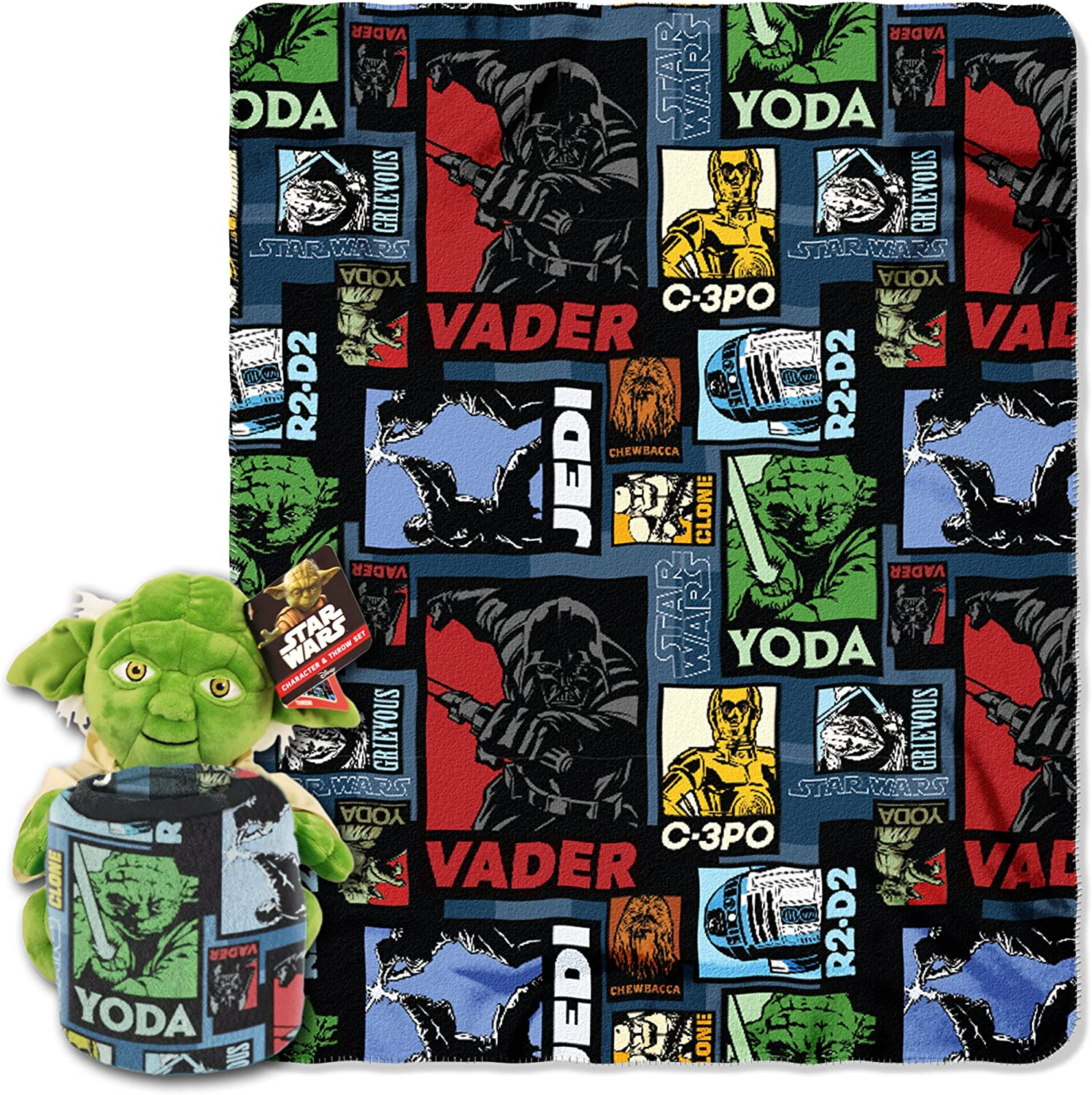"""Disney Star Wars, """"Yoda Story"""" Character Pillow and Fleece Throw Blanket Set, 40"""" x 50"""", Multi Color"""