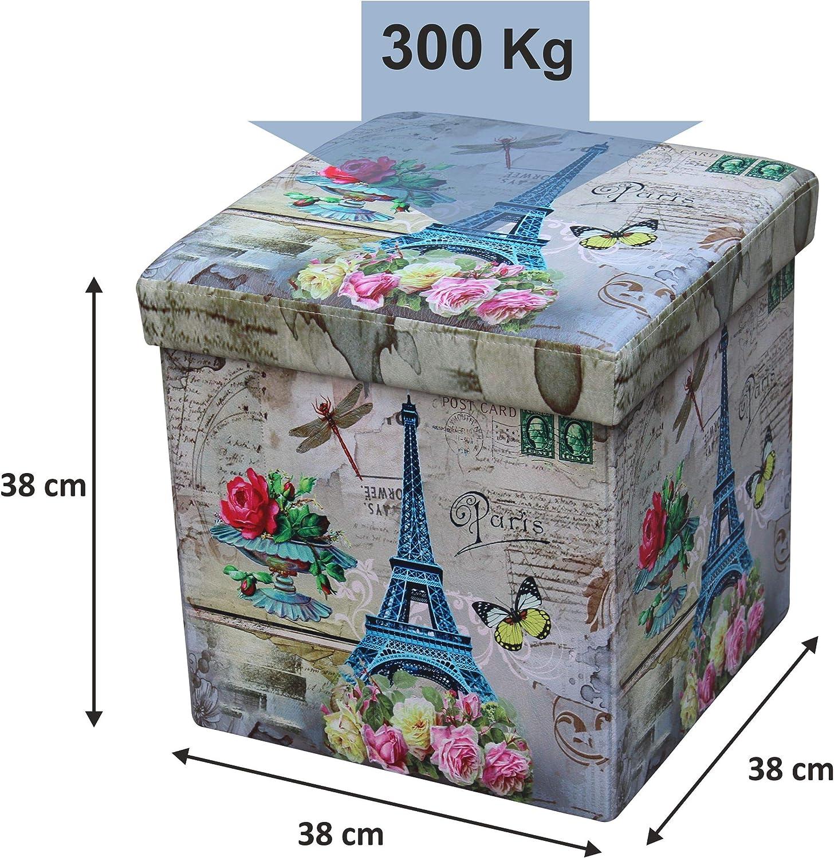 Asiento Acolchado Marr/ón Plegable Carga M/áxima de 300 kg 38 x 38 x 38 cm D/&D Quality Puff Almacenaje Exterior Polipiel Suave