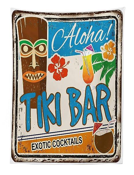 ABAKUHAUS Bar Tiki Tapiz de Pared y Cubrecama Suave, Cartel Vintage Añejado Aloha Tragos Exóticos y Coco Bebidas Antiguo Nostálgico, Lavable Colores ...
