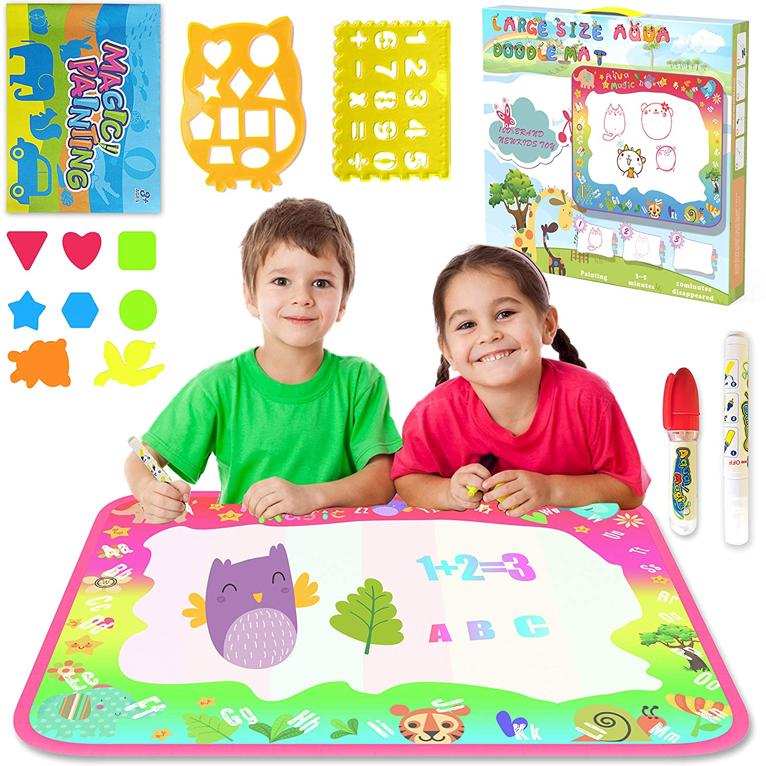 Water Doodle Mat, Aqua Magic Mat Water Drawing Mat Toddlers Painting Board Writing Pad Educational Learning Toy in 6 Colors with 2 Magic Pens for Boys Girls Age 2 3 4 5 6+ Years Old, 34 X 22.5 34 X 22.5 Aptoyu