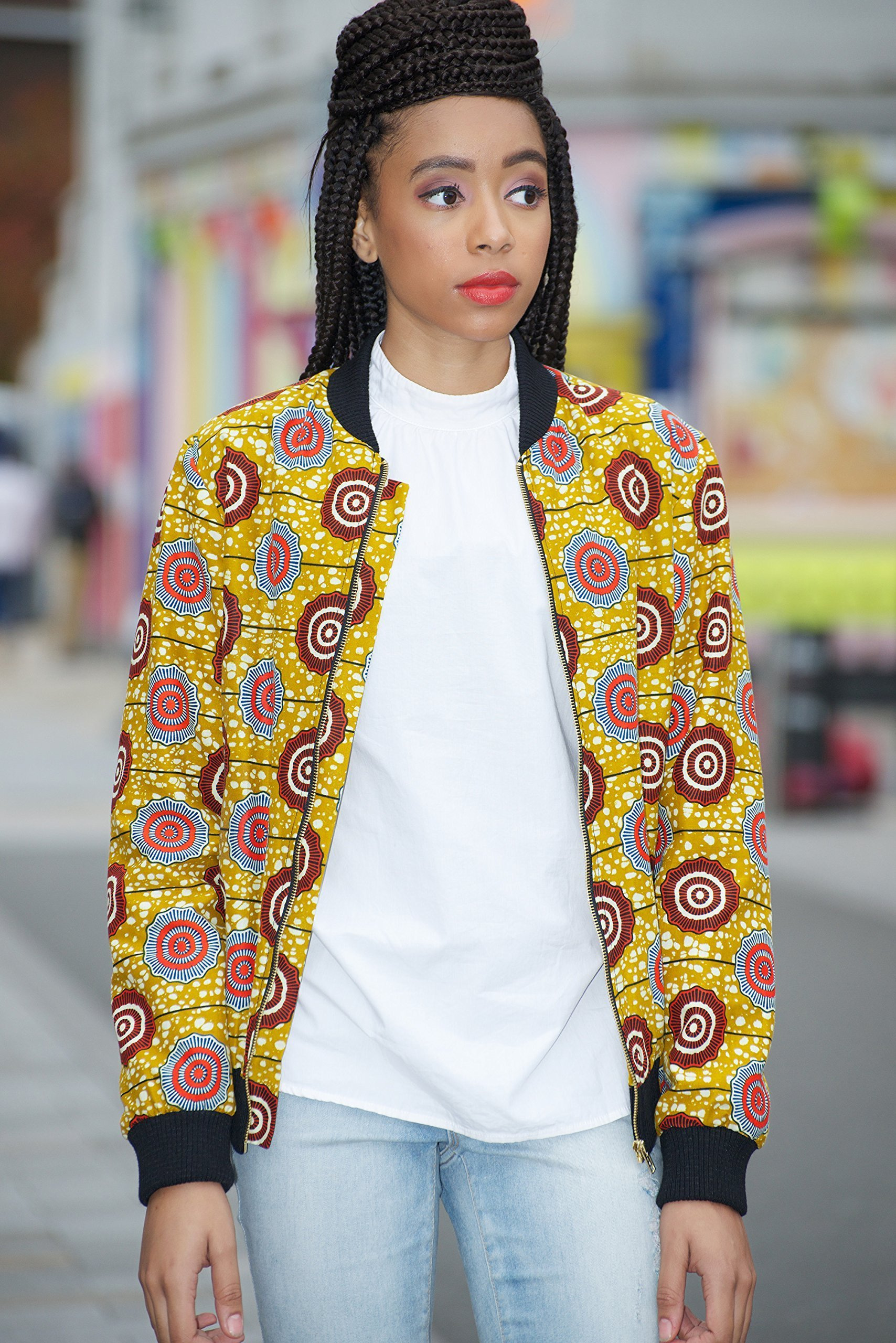 Bomber jacket / African print bomber jacket/ ankara print bomber jacket - light brown