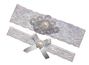 Rhinestone Pearl Vintage White Ivory Lace Wedding Garter SetBridal Prom Gift