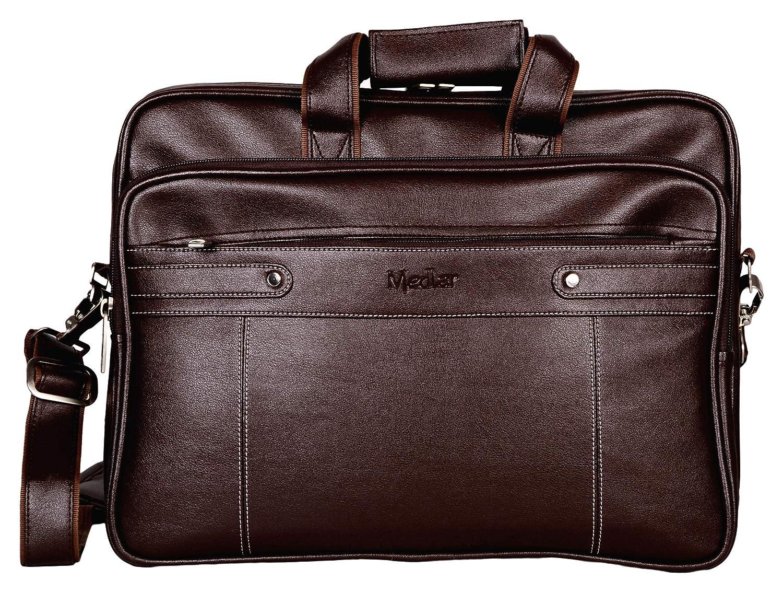Medlar Leather 15.6 inch Laptop Formal Office Dark Brown Messenger Briefcase Bag with Adjustable Shoulder Cross Body Sling Strap for...