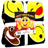 Koltose by Mash Black Emoji Throw Blanket, Super Soft Large Fluffy Lightweight Emoticon Blanket for Boys and Girls, Toddlers Kids Teens and Young Adults (50in x 60in)