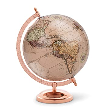 Abbott Collection 57-Latitude-04 Globe on Stand, Rose Gold/Gold