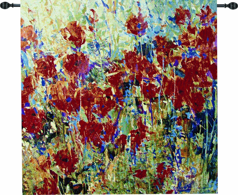 Manual Red Poppy Field II Grande Tapestry Wall Hanging X Artist Tim O'Toole, 35 X 35-Inch
