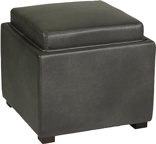 Cortesi Home Mavi Grey Wood Top Tray Storage Cube Ottoman