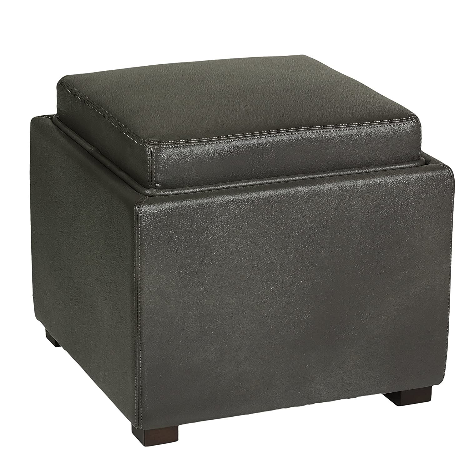 Amazoncom Cortesi Home Mavi Grey Top Tray Storage Cube Ottoman