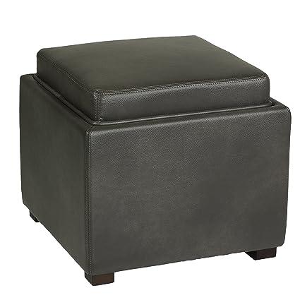 Bon Cortesi Home Mavi Grey Top Tray Storage Cube Ottoman In Bonded Leather