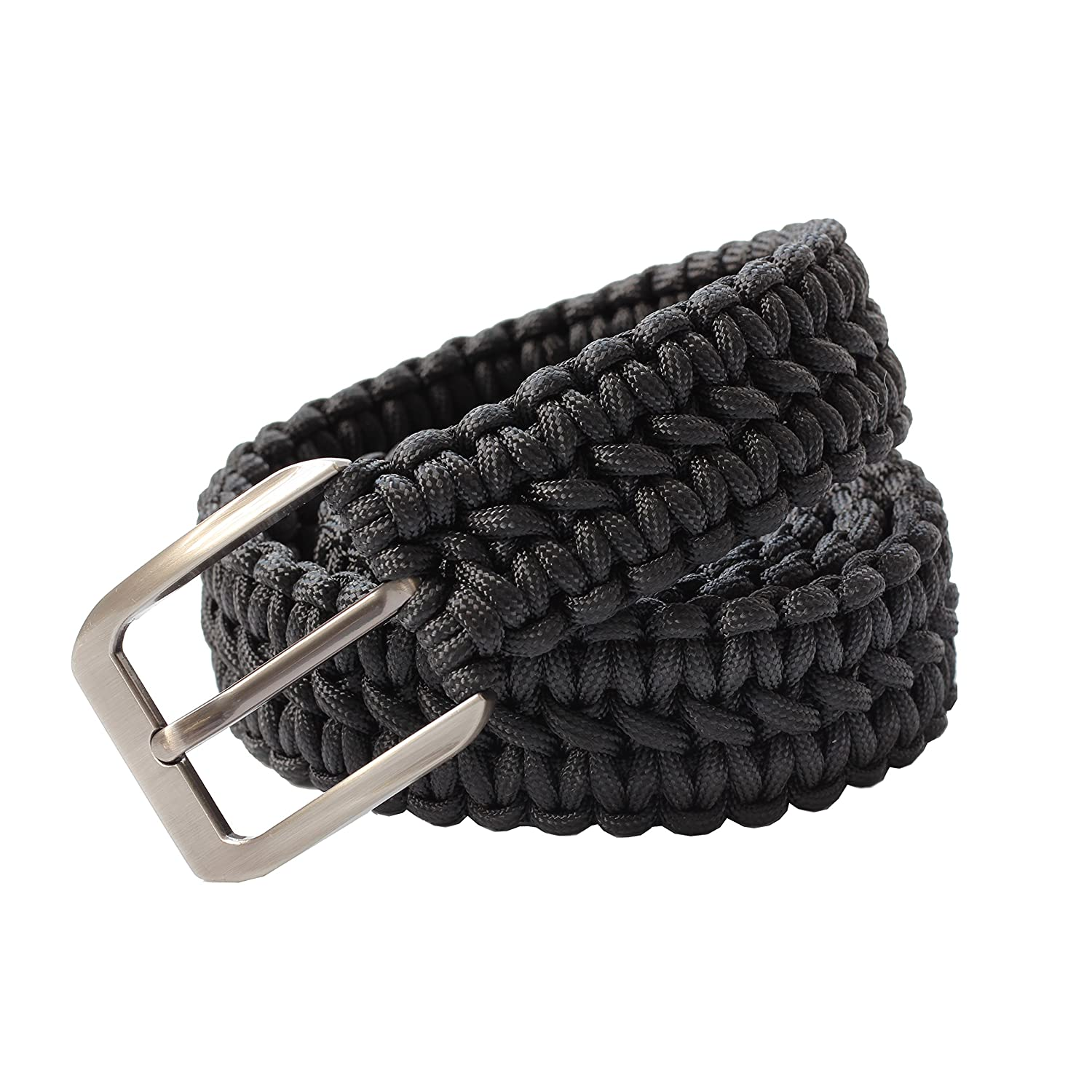 HLHRainbow EDC 550 Paracord Belts with Metal Buckles for Men Hand-Braided Belts for Outdoor Survival