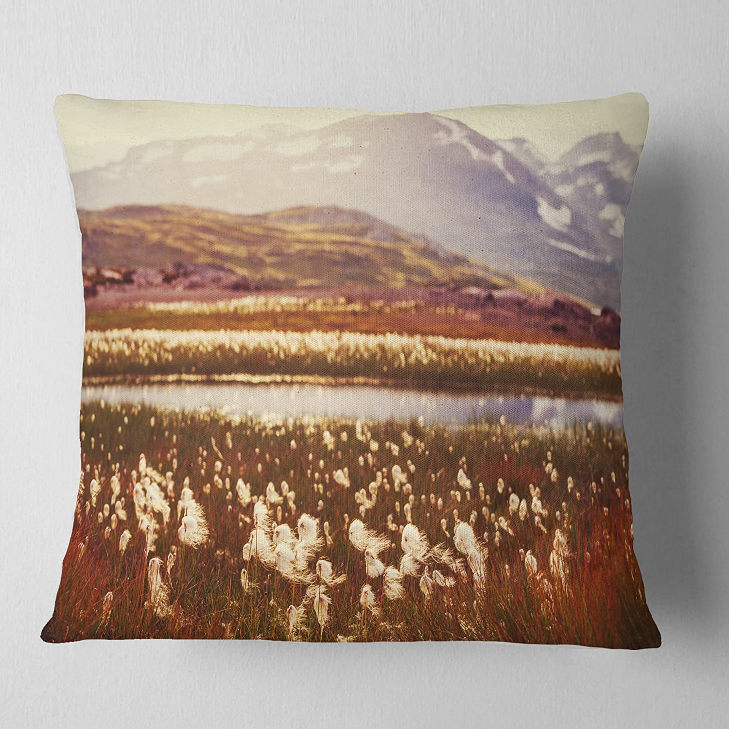 Designart CU12413-26-26 Cotton Flowers with Hills on Background Floral Cushion Cover for Living Room in Insert Printed On Both Side Sofa Throw Pillow 26 in x 26 in