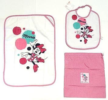 Juego de 3 piezas para guardería: babero, servilleta y bolsa con diseño del personaje Minnie de Disney, para niña: Amazon.es: Deportes y aire libre