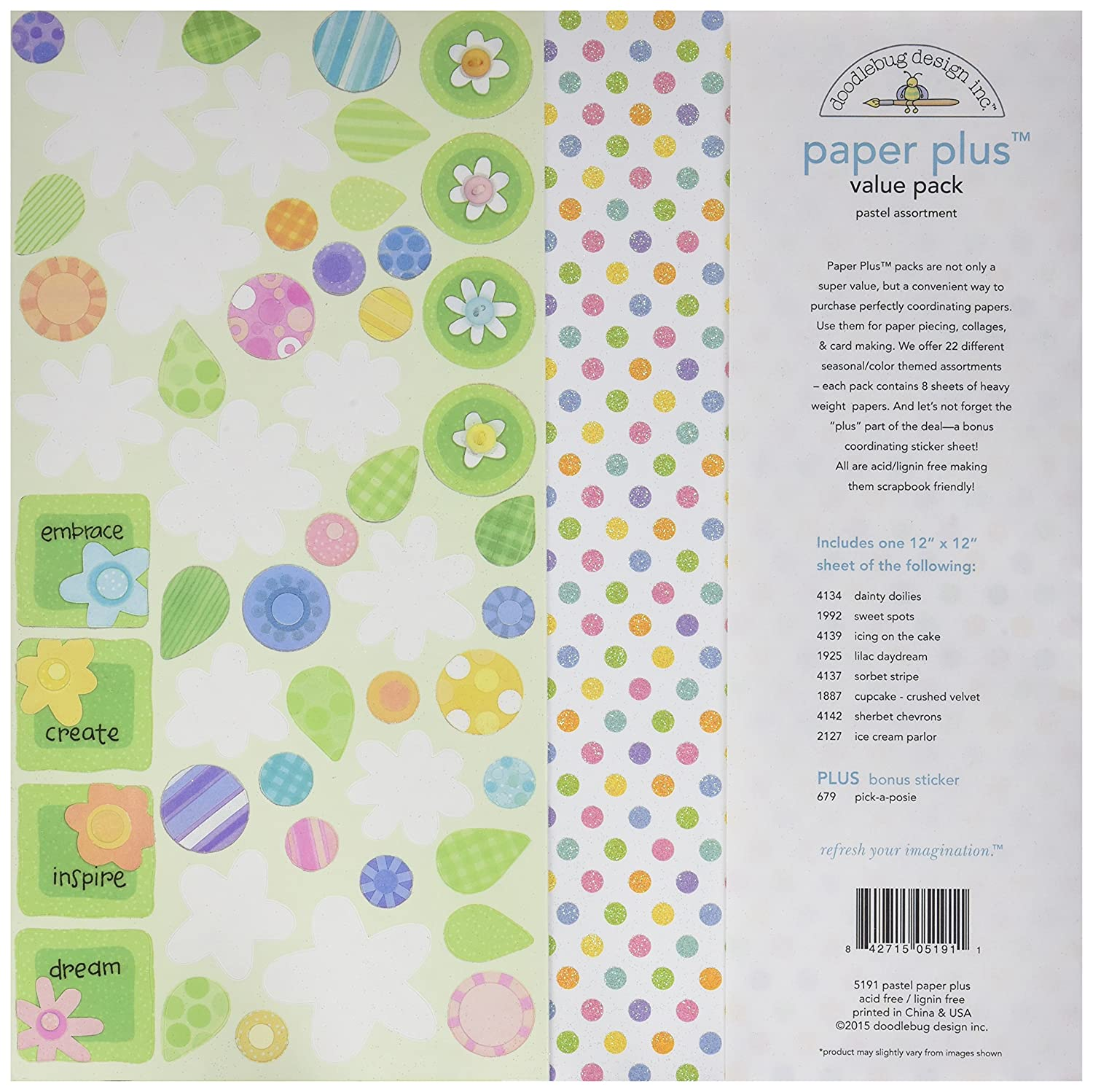 Doodlebug 5191 Paper Plus Value Supplies (12 Pack), 12 X 12, Pastel, Multicolor 12 X 12