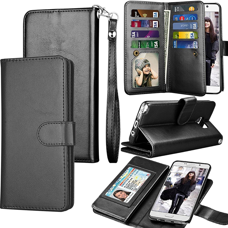 Spritech Funda para Galaxy S8 Plus, S8 Plus, funda de piel sinté tica para Samsung Galaxy S8, lujo, ranuras para tarjetas de cré dito, con funció n atril, desmontable, negro funda de piel sintética para Samsung Galaxy S8