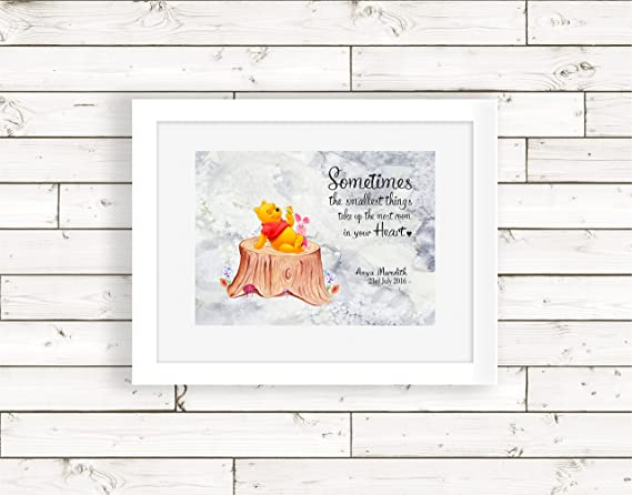 Personalised New Baby//Child Winnie the Pooh Name Birth Print Christening Gift