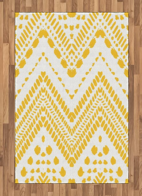Ambesonne Yellow Chevron Area Rug Hand Drawn Aztec Pattern Motif With Dashed Lines Flat Woven Accent Rug For Living Room Bedroom Dining Room 4 X 5 7 Mustard White Kitchen Dining