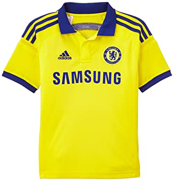 adidas Boy s Chelsea FC Away Jersey - Bright Yellow Chelsea Blue ... 5ebd462cb