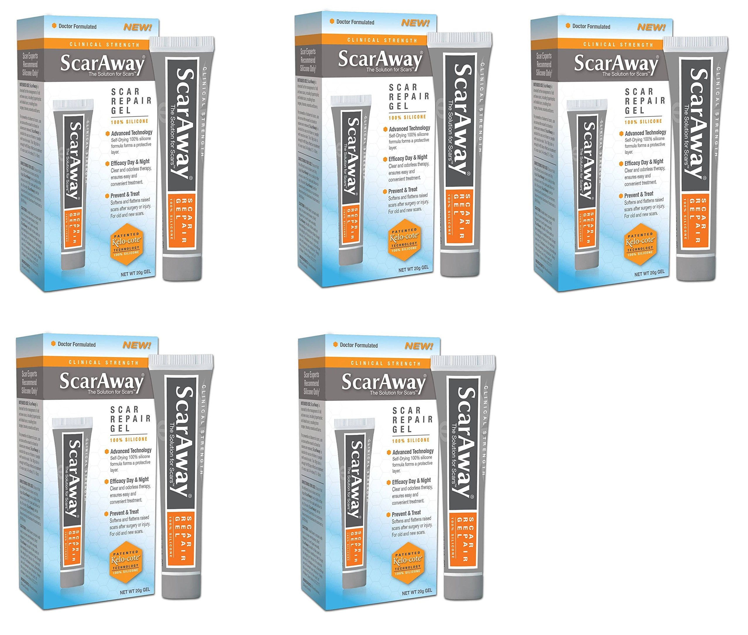 ScarAway 100% Silicone Self Drying Scar Repair Gel with Patented Kelo-cote Technology inFics, 20 grams, Pack of 5 by ScarAway