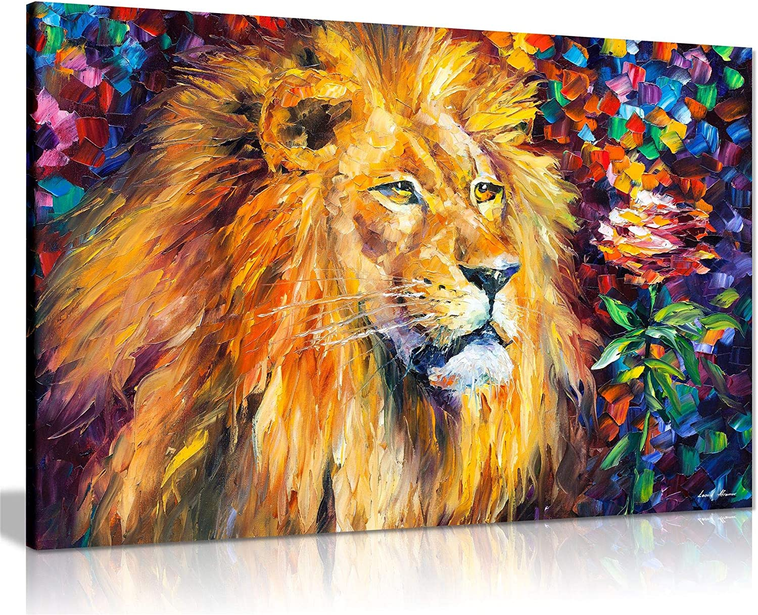 Lion by Leonid Afremov Canvas Wall Art Picture Print for Home Decor (24x16)