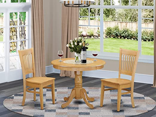 Amazon Com East West Furniture Wooden Dining Table Set 2 Fantastic Chairs For Dining Room A Wonderful Mid Century Dining Table Oak Color Wooden Seat Oak Round Wooden Dining Table Furniture Decor