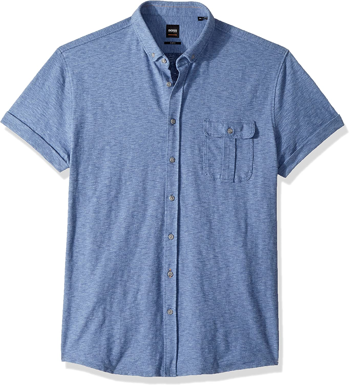BOSS Orange Mens Garment Washed Cotton Jersey Shirt with Contrast Detail