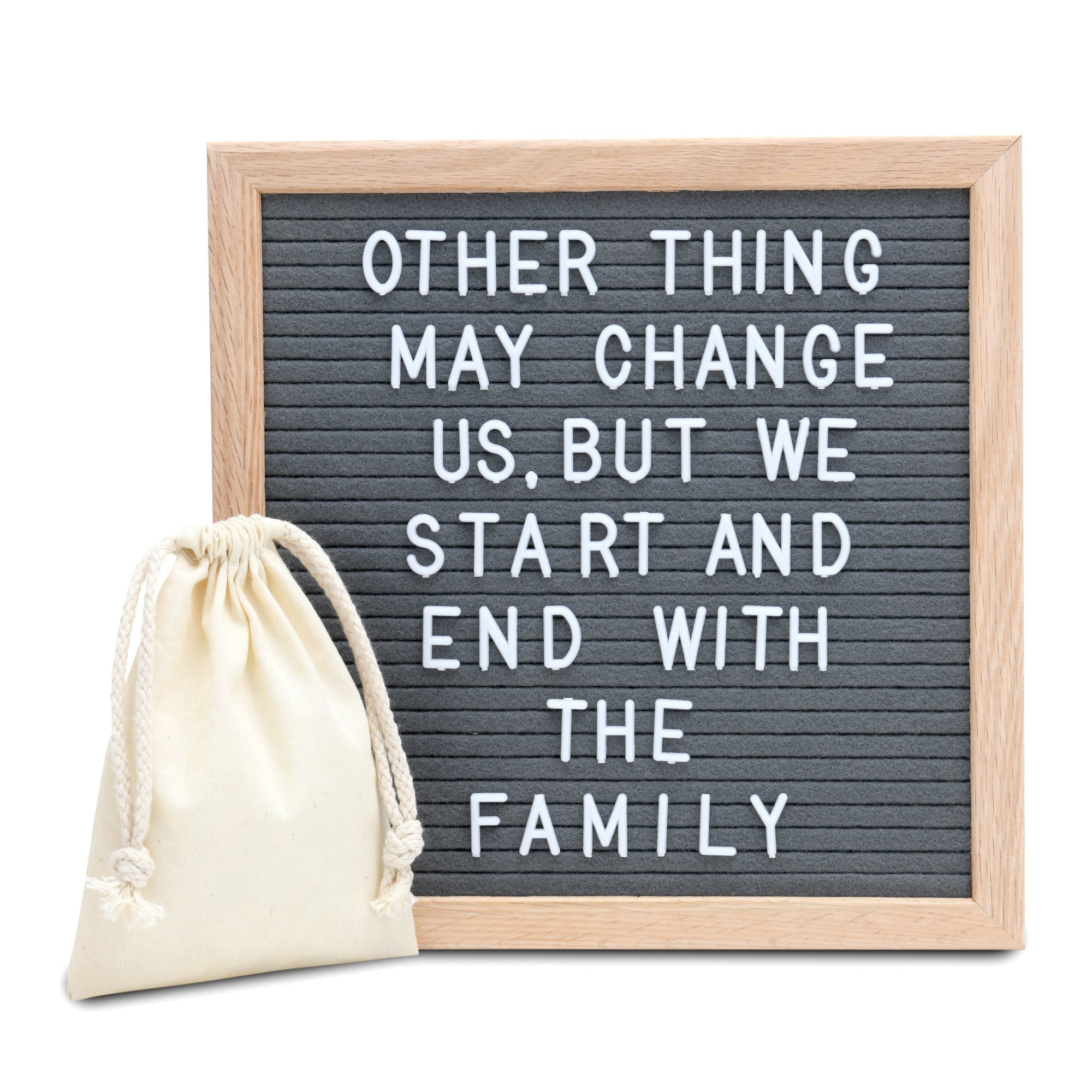 Amstorm AMSTROM Gray Felt Letter Board 10x10 Inches, Wall Mount Changable Letter Board with 300 Letters and Symbols, Oak Frame Changeable Wooden Message Board Sign